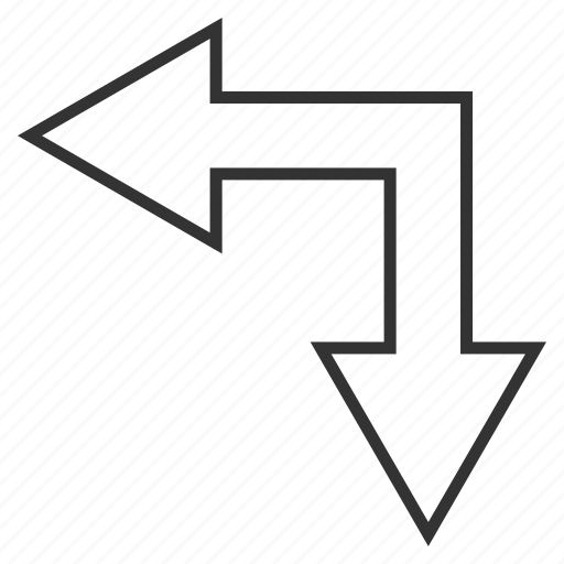 bifurcation arrow, choice, connection, divide, left down, navigation, split arrows icon