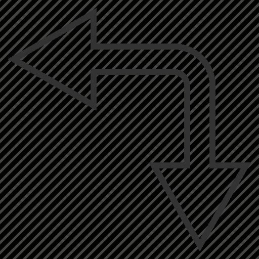 bifurcation arrow, choice, connection, divide, left down, navigation, split arrows icon