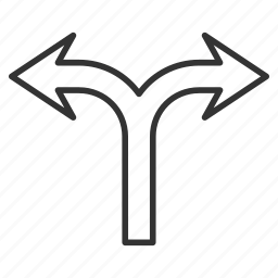 choice, connection, divide, left right, navigation, separate, split arrows icon