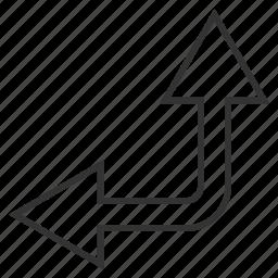 bifurcation arrow, choice, connection, divide, left up, navigation, split arrows icon