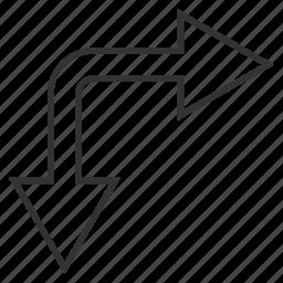 bifurcation arrow, choice, connection, divide, down right, navigation, split arrows icon