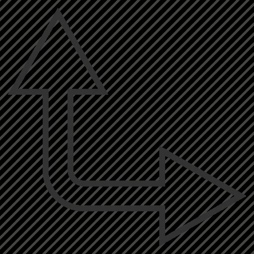 bifurcation arrow, choice, connection, divide, navigation, split arrows, up right icon