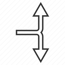bifurcation arrow, choice, connection, divide, navigation, split arrows, up down icon
