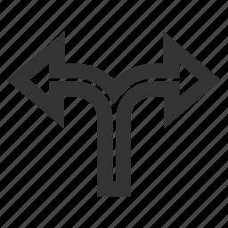 bifurcation arrow, choice, connection, junction, left right, navigation, split arrows icon