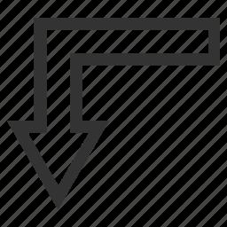 arrow, back, backward, direction, down, navigation, turn icon