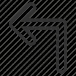 arrow, direction, navigation, orientation, pointer, turn left, undo icon