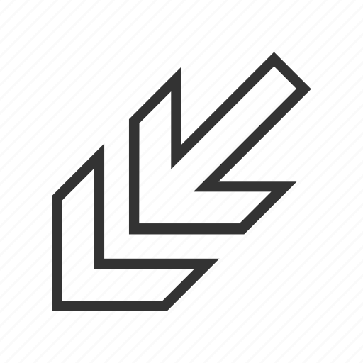 arrow, cursor, direction, down left, move out, navigation, pointer icon