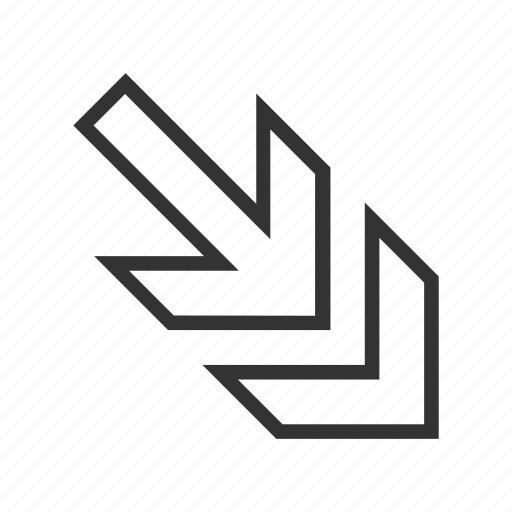 arrow, cursor, direction, move out, navigation, pointer, right down icon