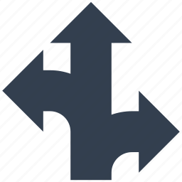 arrows, directional, road, signs, three, traffic icon