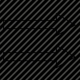 arrows, collinear, direction, geometry, vectors, ways icon