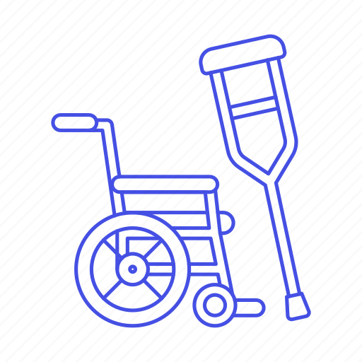 aid, crutches, disability, impairment, injury, mobility, post, recovery, surgery, wheelchair icon