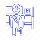 1, aid, bus, crutch, disability, impairment, inside, male, mobility, priority, seat, sign icon