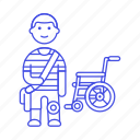 1, 2, artificial, disability, impairment, leg, man, mobility, prosthesis, wheelchair icon