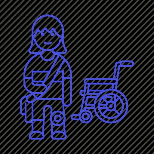 2, artificial, disability, impairment, leg, mobility, prosthesis, wheelchair, woman icon