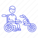 1, aid, disability, electric, extention, impairment, male, mobility, motorized, scooter, wheelchair icon