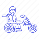 aid, disability, electric, extention, female, impairment, mobility, motorized, scooter, wheelchair icon