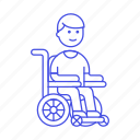 1, aid, disability, impairment, injury, male, mobility, post, recovery, surgery, wheelchair icon