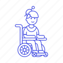 aid, disability, female, impairment, injury, mobility, post, recovery, surgery, wheelchair icon