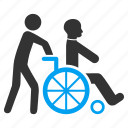 patient, handicap, wheelchair, wheel chair, disabled person, medical support, transportation icon