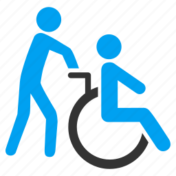 disabled person, handicap, medical support, patient, transportation, wheel chair, wheelchair icon