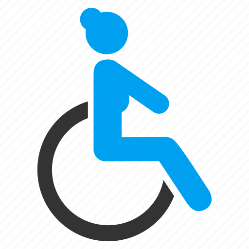 disabled lady, female, handicap, patient seat, wheel chair, wheelchair, woman icon