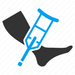 accident, assistance, broken leg, crutch, disabled, fracture, injury icon