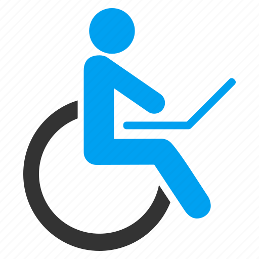 damaged, disable, disabled, handicap, invalid person, patient chair, wheelchair icon