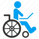 patient chair, damaged, handicap, wheelchair, invalid person, disabled, disable icon