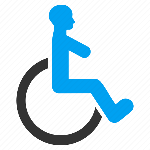 damaged, disable, disabled man, handicap, invalid person, patient chair, wheelchair icon