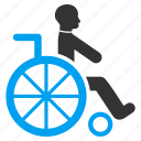 patient chair, damaged, handicap, wheelchair, invalid person, disable, disabled man icon