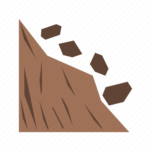 broken, collapse, danger, earthquake, land, landslide, road icon