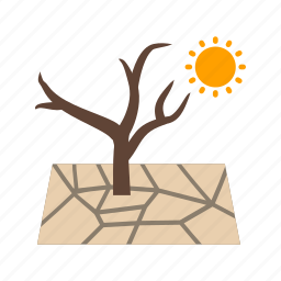 cracked, dead, drought, dry, land, nature, soil icon