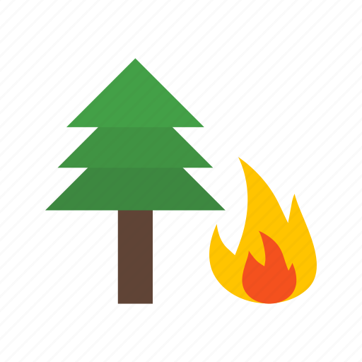 danger, disaster, fire, flame, forest, pine, tree icon