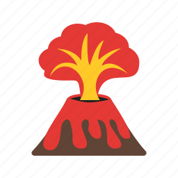 disaster, eruption, exploding, lava, natural, sparkling, volcano icon