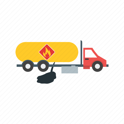 disaster, explosion, fire, fuel, leak, tank, truck icon