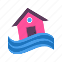 building, disaster, flood, home, house, storm, water