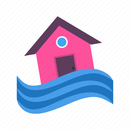 building, disaster, flood, home, house, storm, water icon