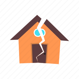 collapse, damage, disaster, earthquake, house, structure, wall icon