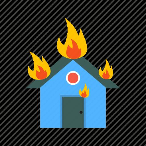 burning, damage, fire, flame, heat, house, smoke icon