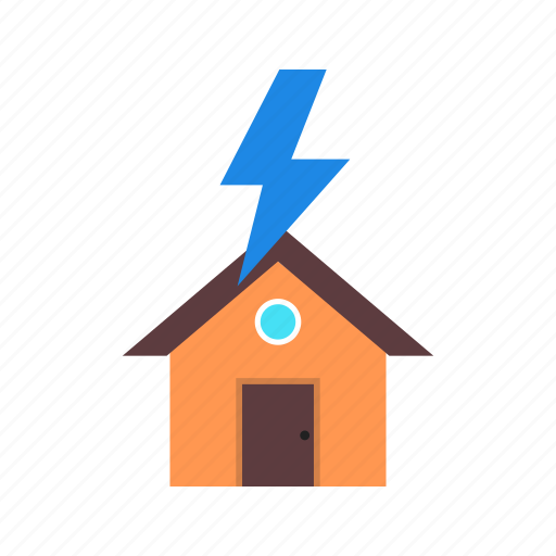 disaster, house, lightning, sky, storm, strike, weather icon