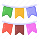 buntings, party flags, garlands, decoration, banners