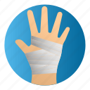 diseases, hand bandage, hand injury, treatment