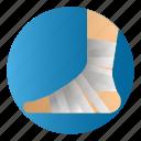 diseases, foot bandage, foot injury, treatment