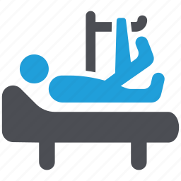 broken leg, hospital, hospital bed, medical, medical treatment, patient, sickbed icon
