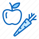apple, carrot, fruits, vegetables, vitamins icon