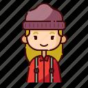 avatar, blonde, diversity, girl, lumberjack, people, profession icon