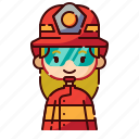 avatar, blonde, diversity, firefighter, girl, people, profession