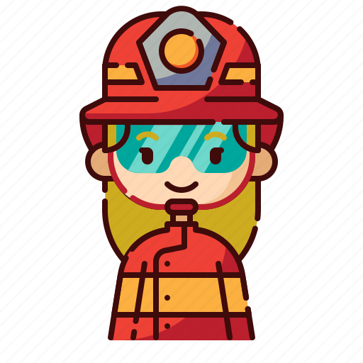 avatar, blonde, diversity, firefighter, girl, people, profession icon