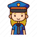 avatar, blonde, diversity, girl, people, police, profession icon