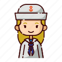 avatar, blonde, diversity, girl, people, profession, sailor icon